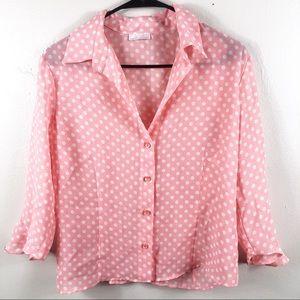 Sheer Pink Polka Dot Button Down Top Size 10